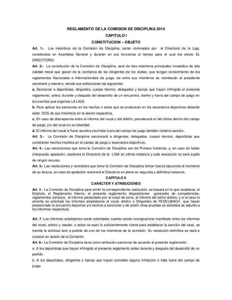 Reglamento de la comision de disciplina liga panaderia 2014