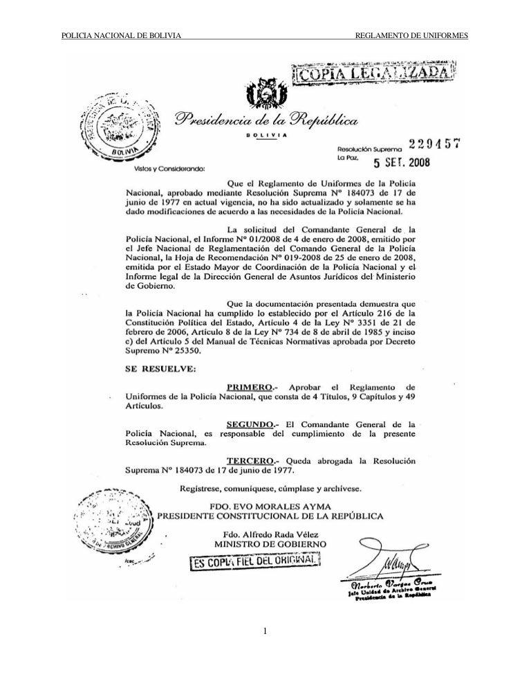 Reglamento de Uniformes Policía Boliviana d14c064ee71