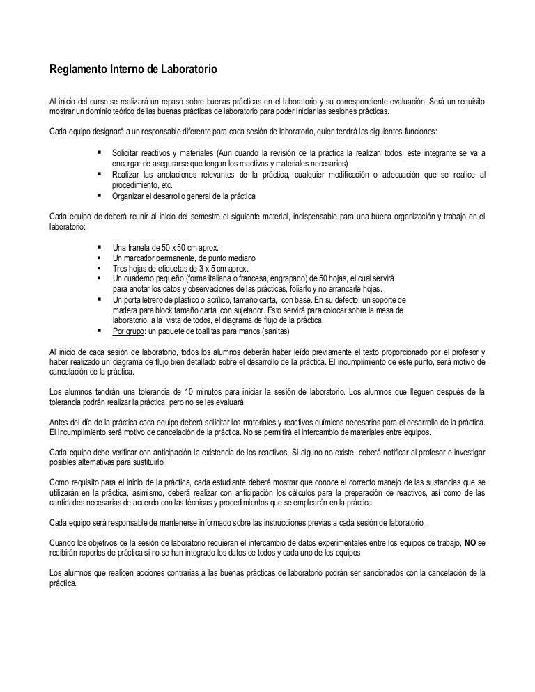 Reglamento interno de laboratorio