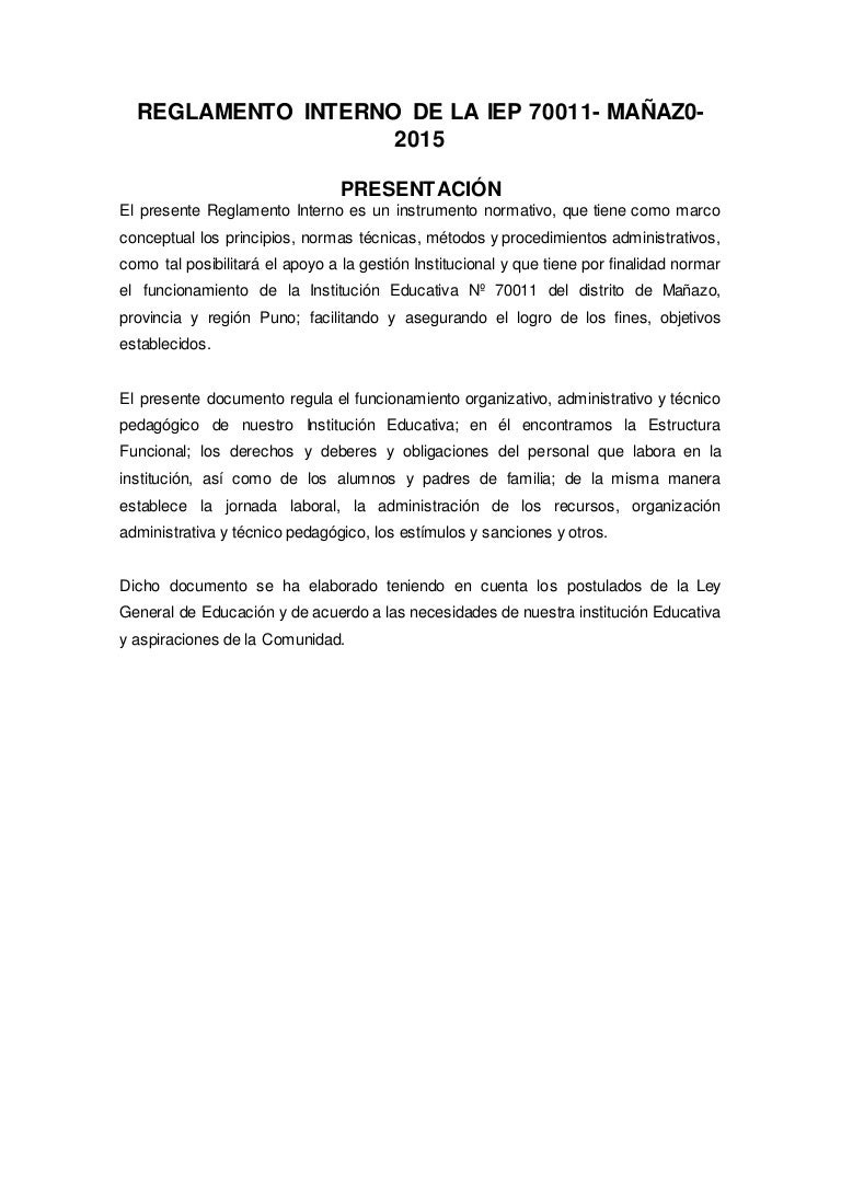 REGLAMENTO INTERNO DE LA INSTITUCION EDUCATIVA PRIMARIA 70011 MAÑAZO-…