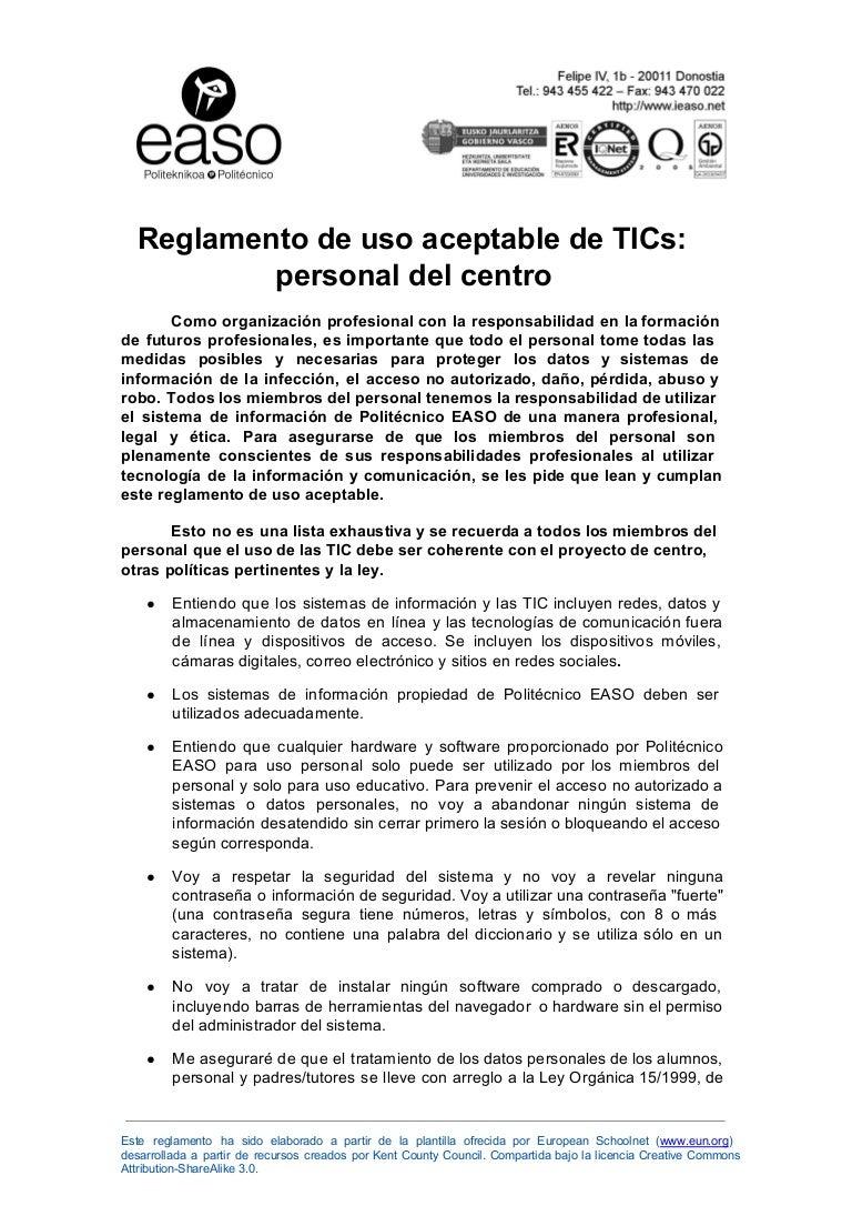 Reglamento de uso aceptable de TICs: personal del centro