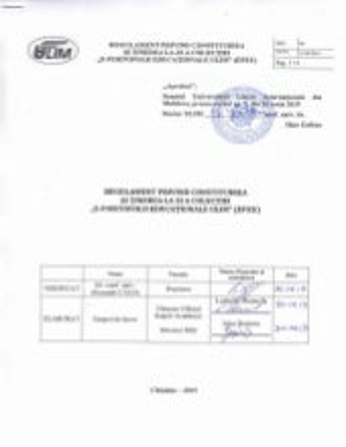"""Rugulament privind constituirea și ținerea la zi a colecției """"E-Portofolii Educaționale ULIM""""(EPEU)"""