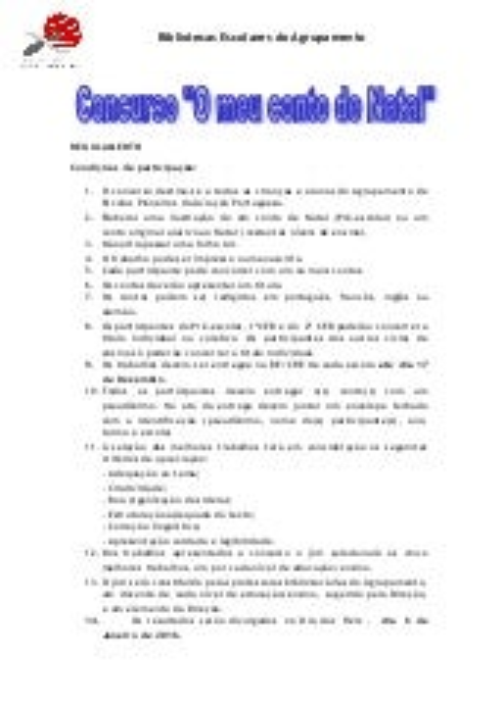 Regulamento concurso conto de natal