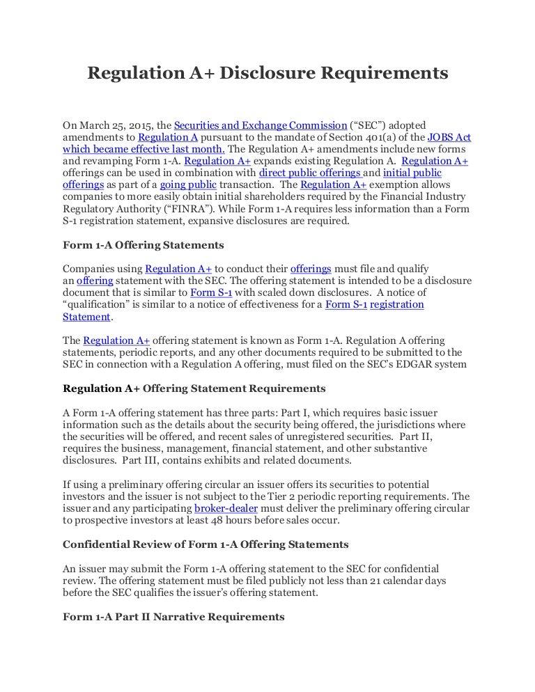 Regulation A+ Disclosure