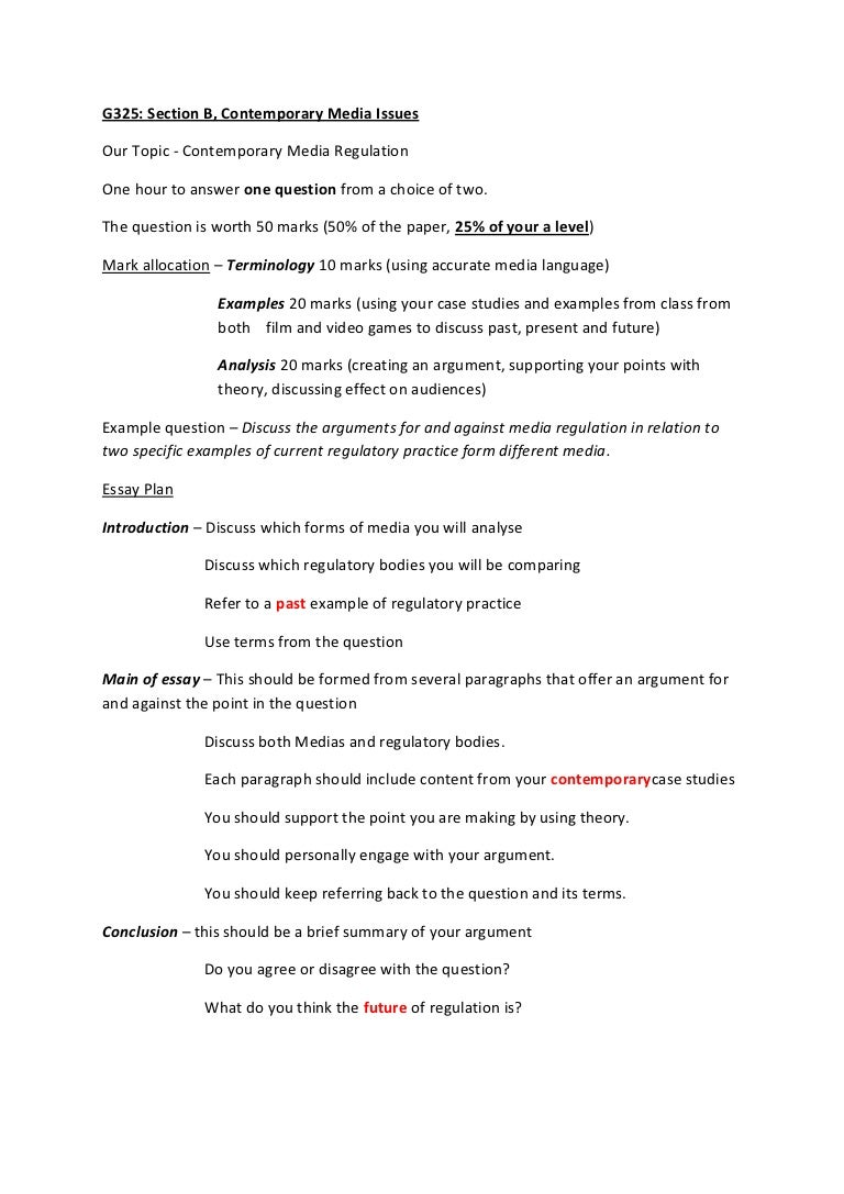 media studies essay plan