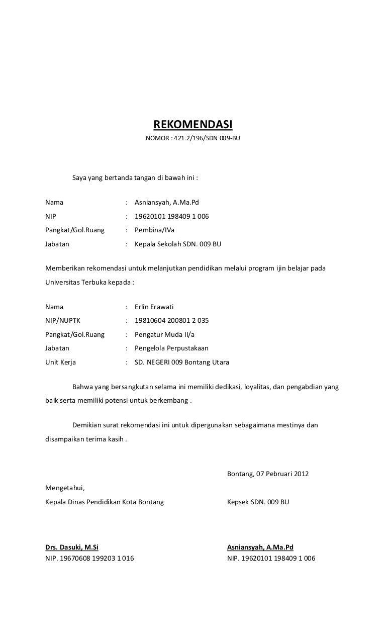 Contoh Form Surat Rekomendasi