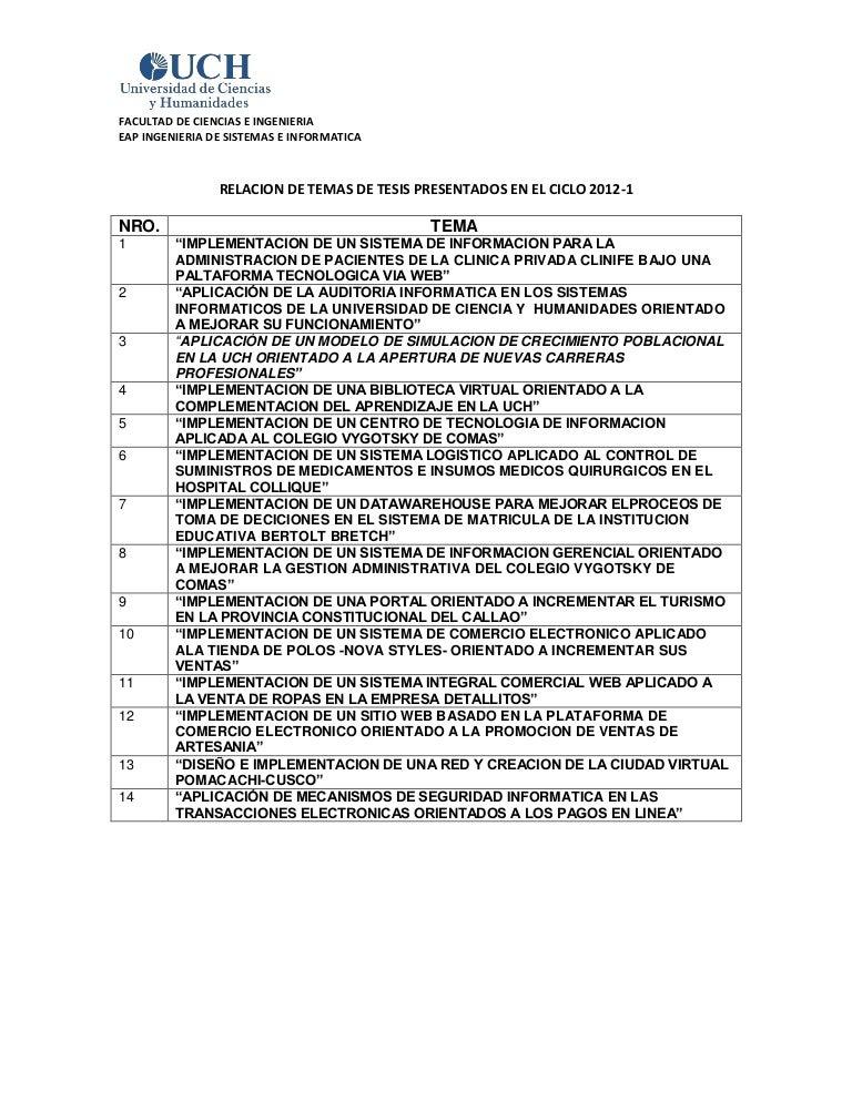 Relacion de temas de tesis presentados en el ciclo 2012 1