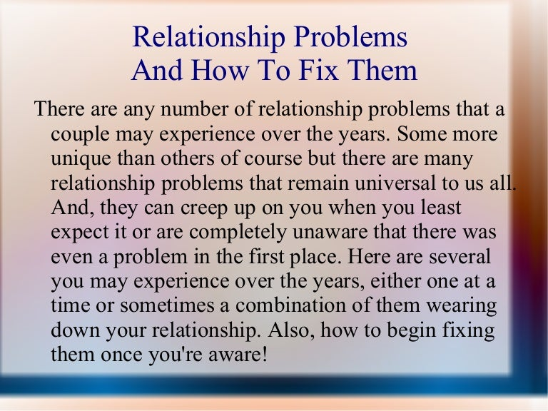 Relationship Problems And How To Fix Relationship Problems