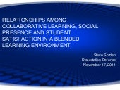 RELATIONSHIPS AMONG COLLABORATIVE LEARNING, SOCIAL PRESENCE AND STUDENT SATISFACTION IN A BLENDED LEARNING ENVIRONMENT