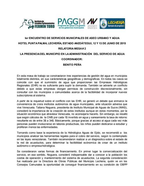 Relatoría mesa 2: la presencia del municipio en la administración del servicio de agua