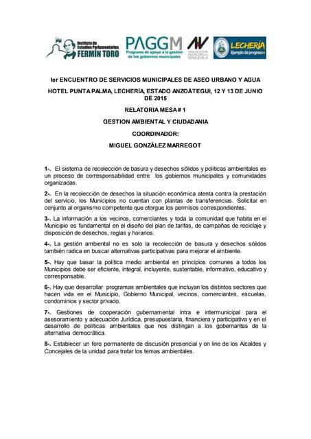 Relatoría mesa 1: Gestión ambiental y ciudadanía