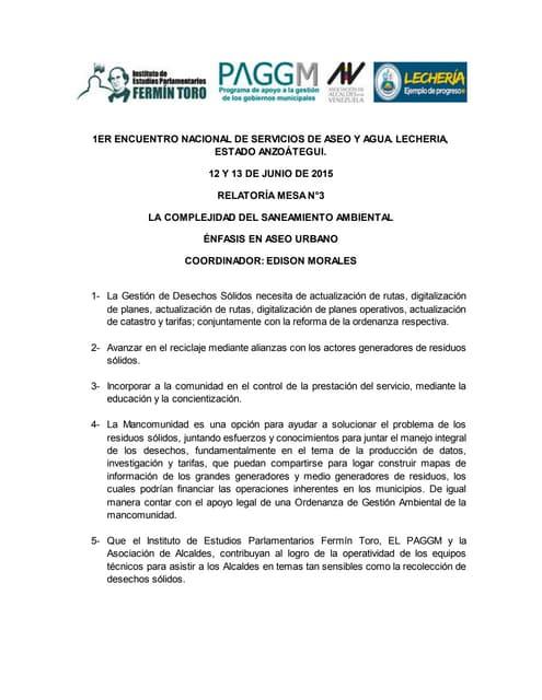 Relatoría mesa 3: la complejidad del saneamiento ambiental