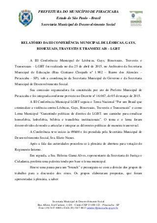 III Conferência Municipal de Lésbicas,Gays,Bissexuais,Travestis e Transexuais - LGBT(Piracicaba, 25/04/2015)