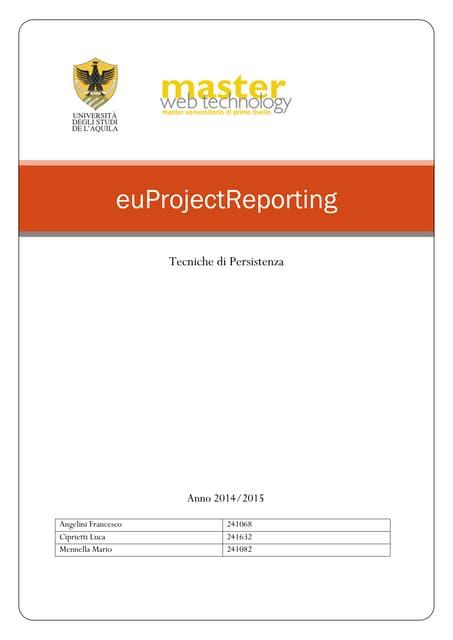 [MWT] Relazione tecniche di persistenza EuProjectReporing