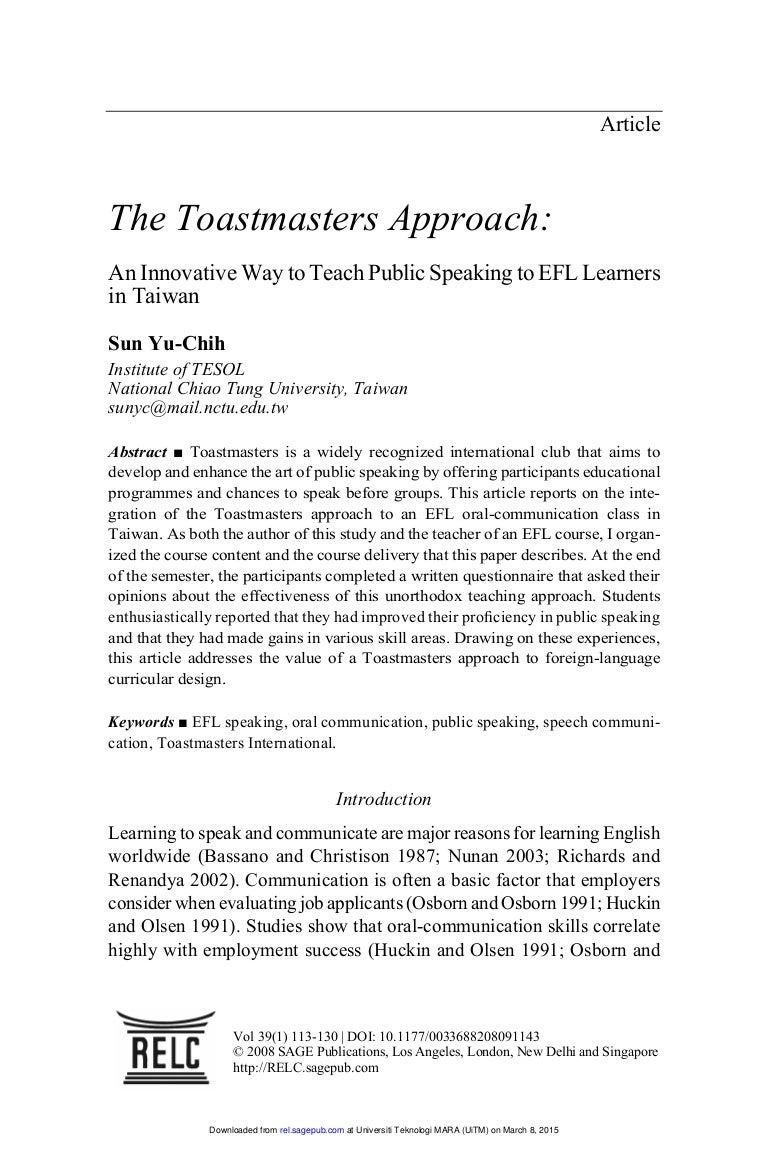a toastmaster approach
