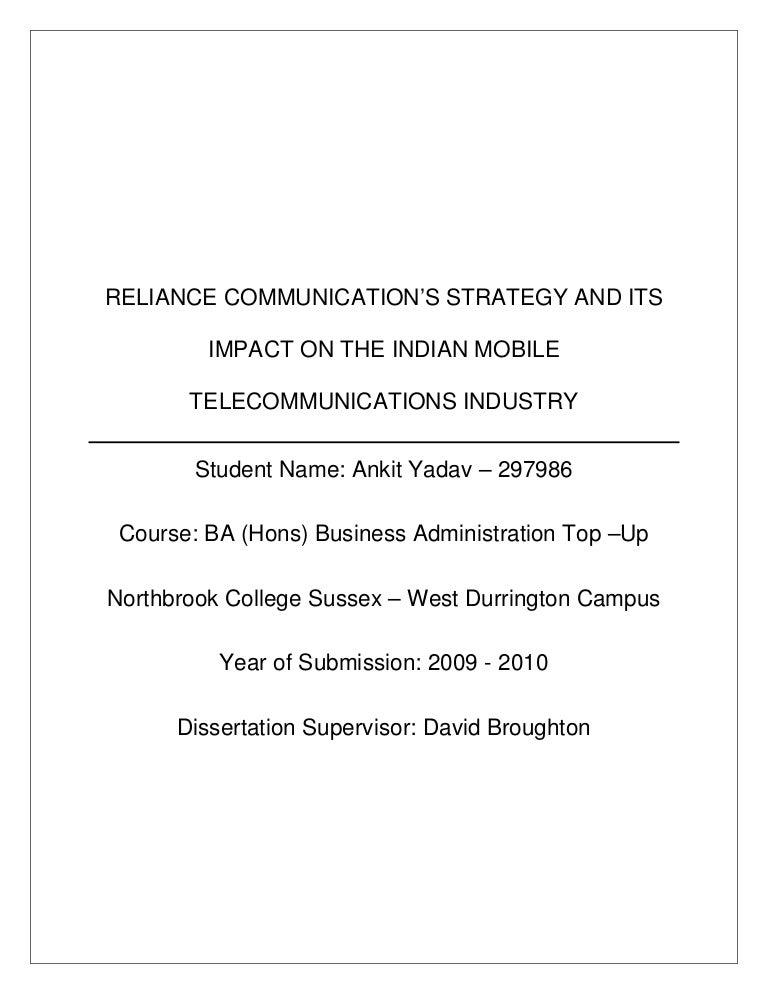 Communication performance dissertation