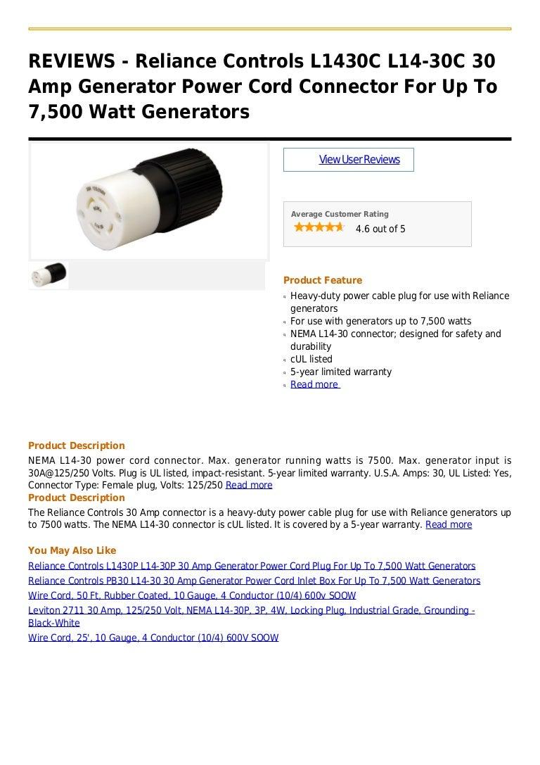 Reliance Controls L1430 C L14 30c 30 Amp Generator Power Cord Connect Pb30 Inlet Box