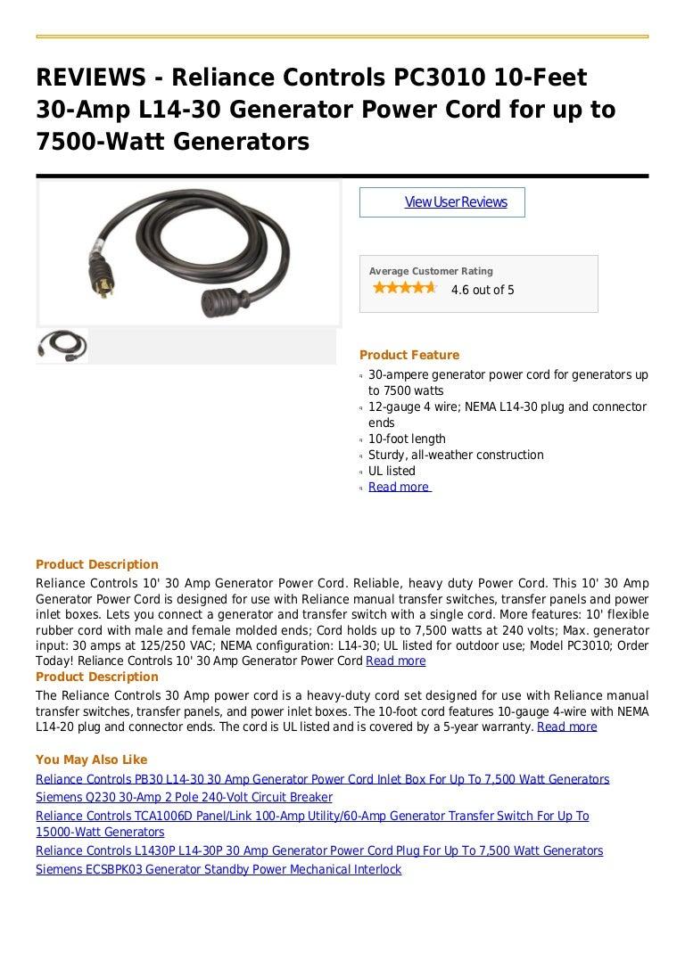 reliance controls pc3010 10 feet 30 amp l14 30 generator power cord f