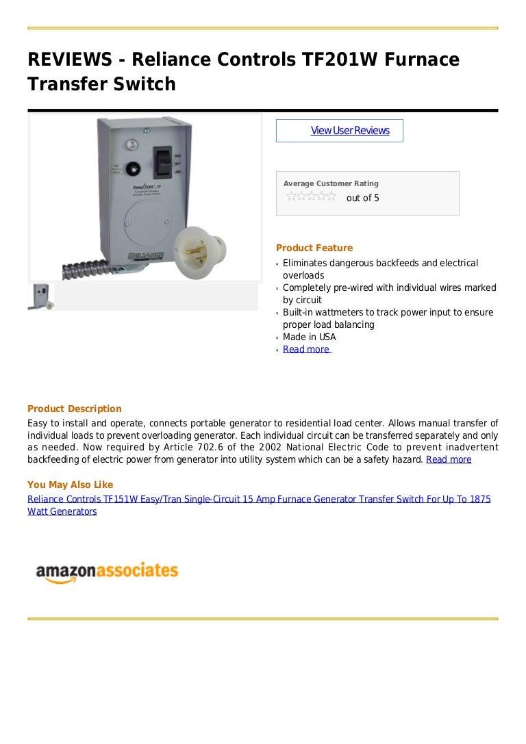 Reliance Controls Tf201 W Furnace Transfer Switch Wiring For