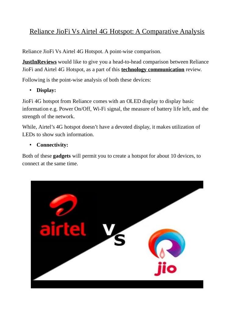 Reliance jio fi vs airtel 4g hotspot: a comparative analysis