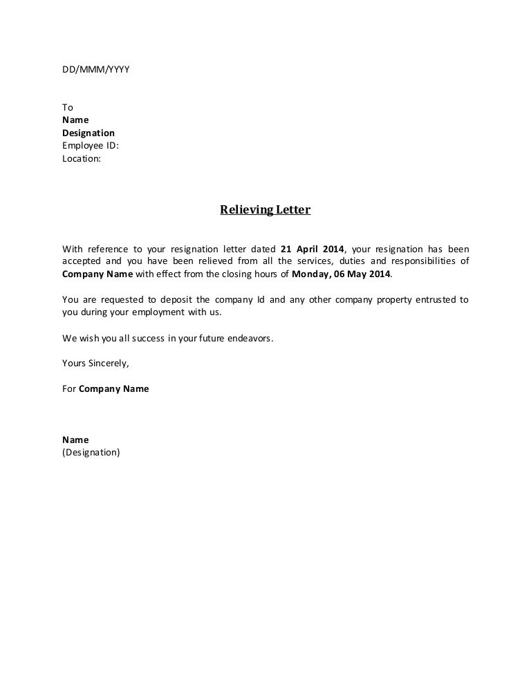 Format of relieving letter from employee for free download tsedge.