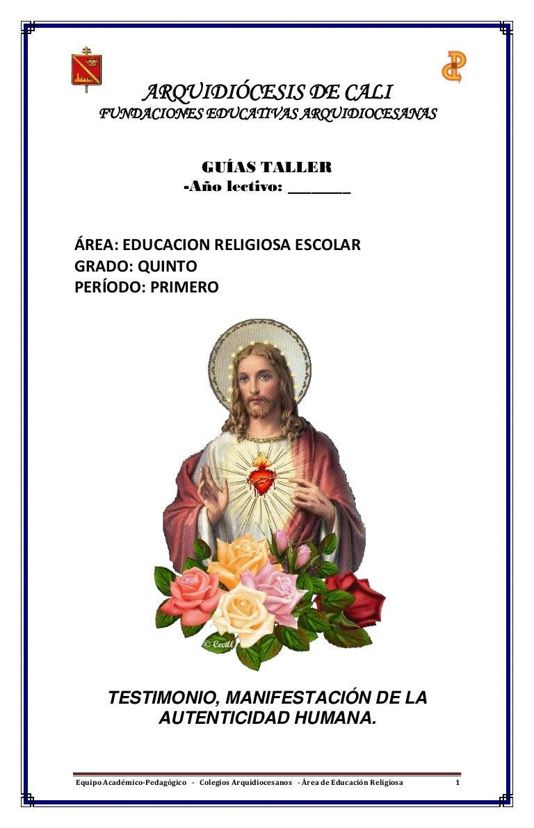 cuadernillo actividades Religion 5°
