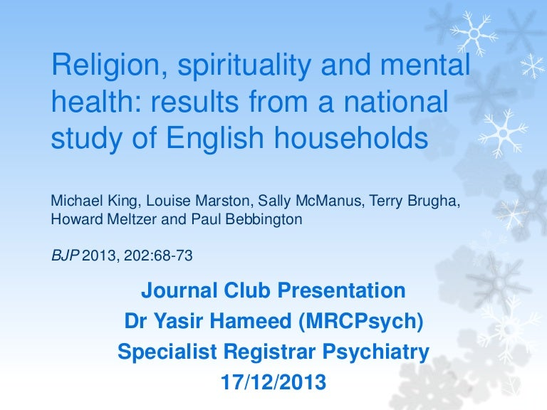 Religion spirituality and mental health journal club presentation pronofoot35fo Image collections
