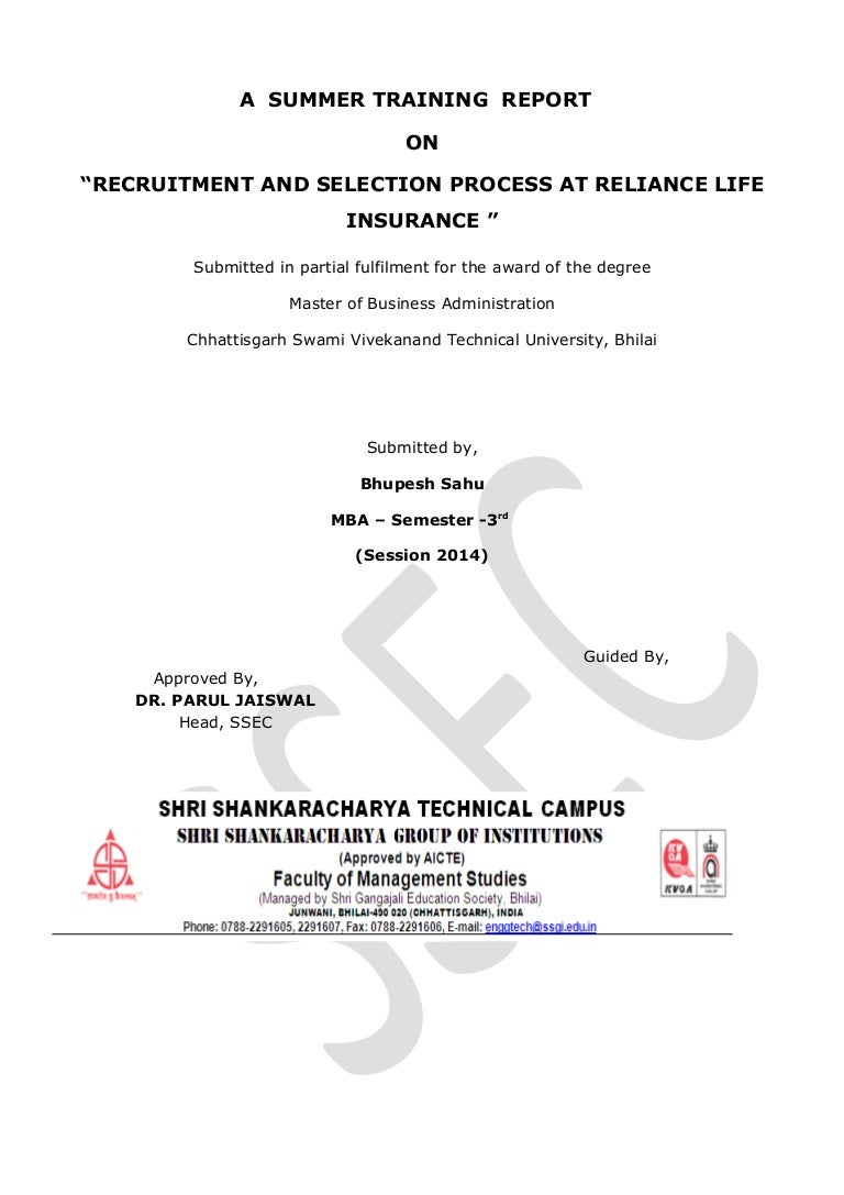 Relince life insurance project recruitment and selection nvjuhfo Images