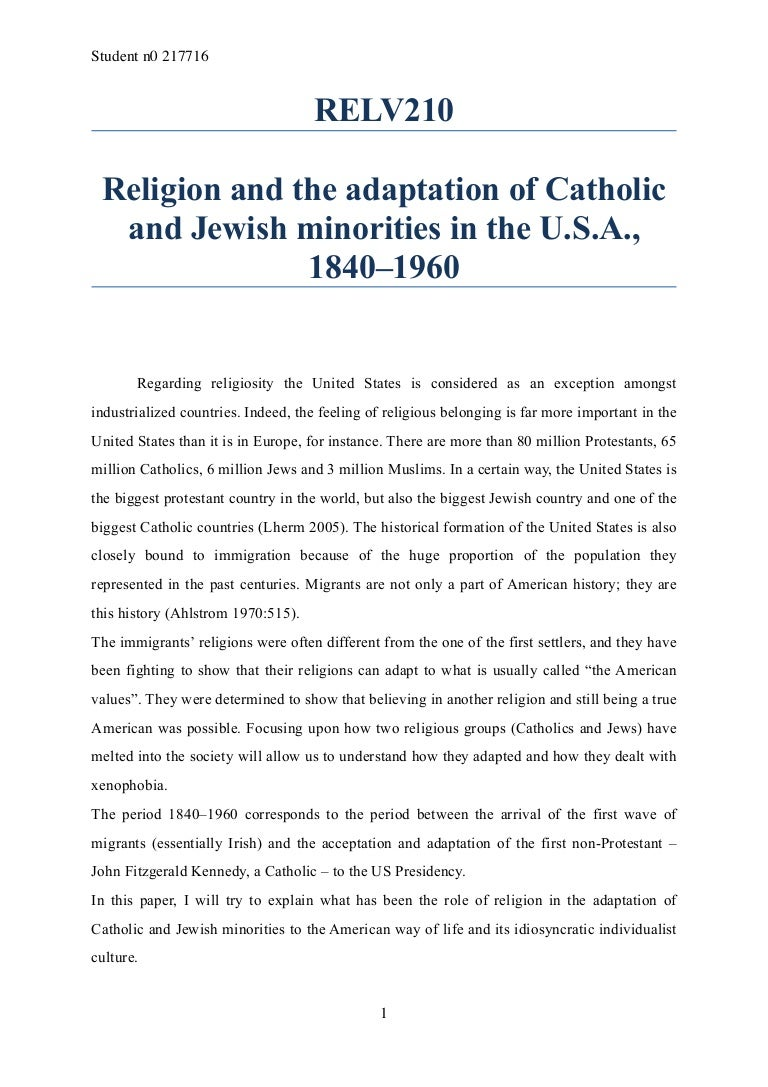 Religion and the adaptation of Catholic and Jewish