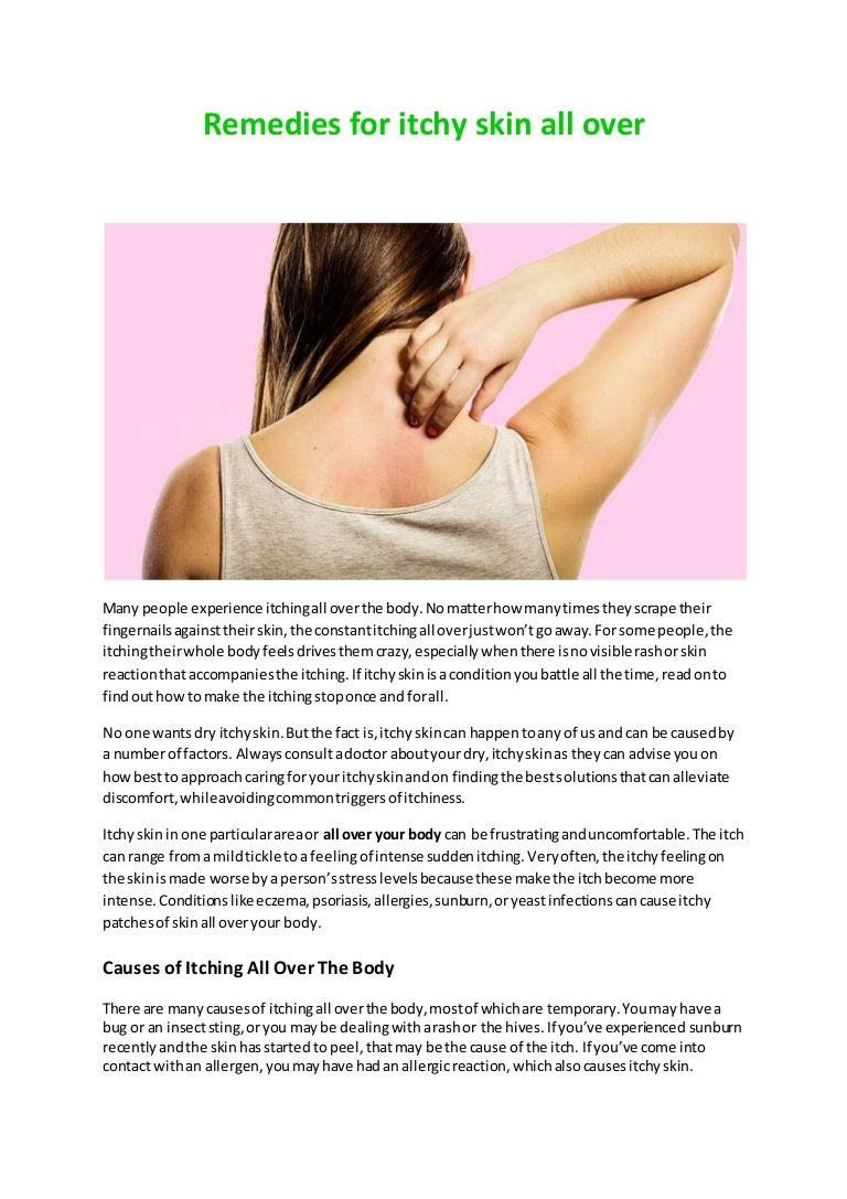 Remedies for itchy skin all over