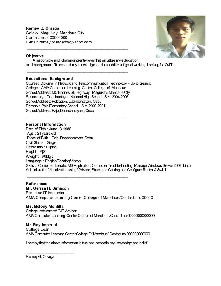 Resume Sample Resume For Ojt Electrical Technology Resume Sample For Ojt  Computer Science Frizzigame Engineering Students  Example Of Objective For Resume