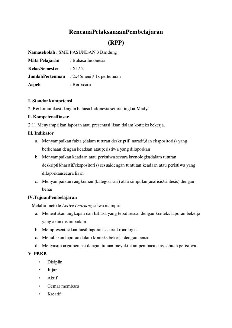 Kd 2 11 Rpp Smk Xi Bahasa Indonesia