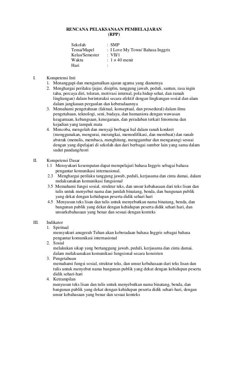 Contoh Rpp Bahasa Inggris Kurikulum 2013 Versi Plpg