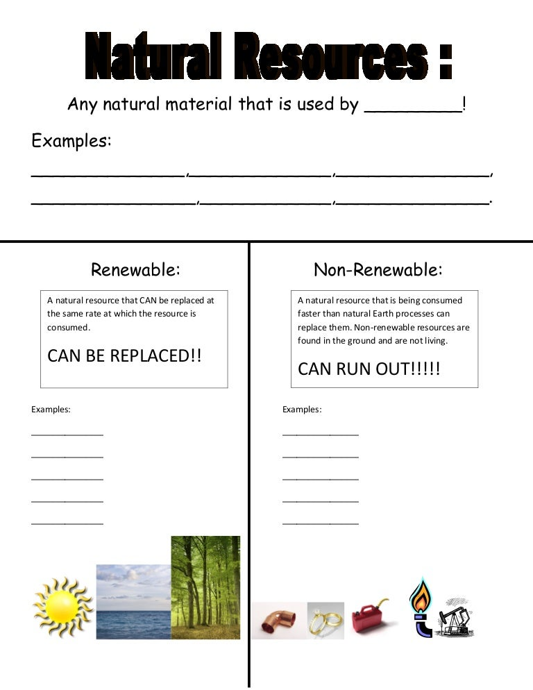 Renewable Vs Non Worksheet