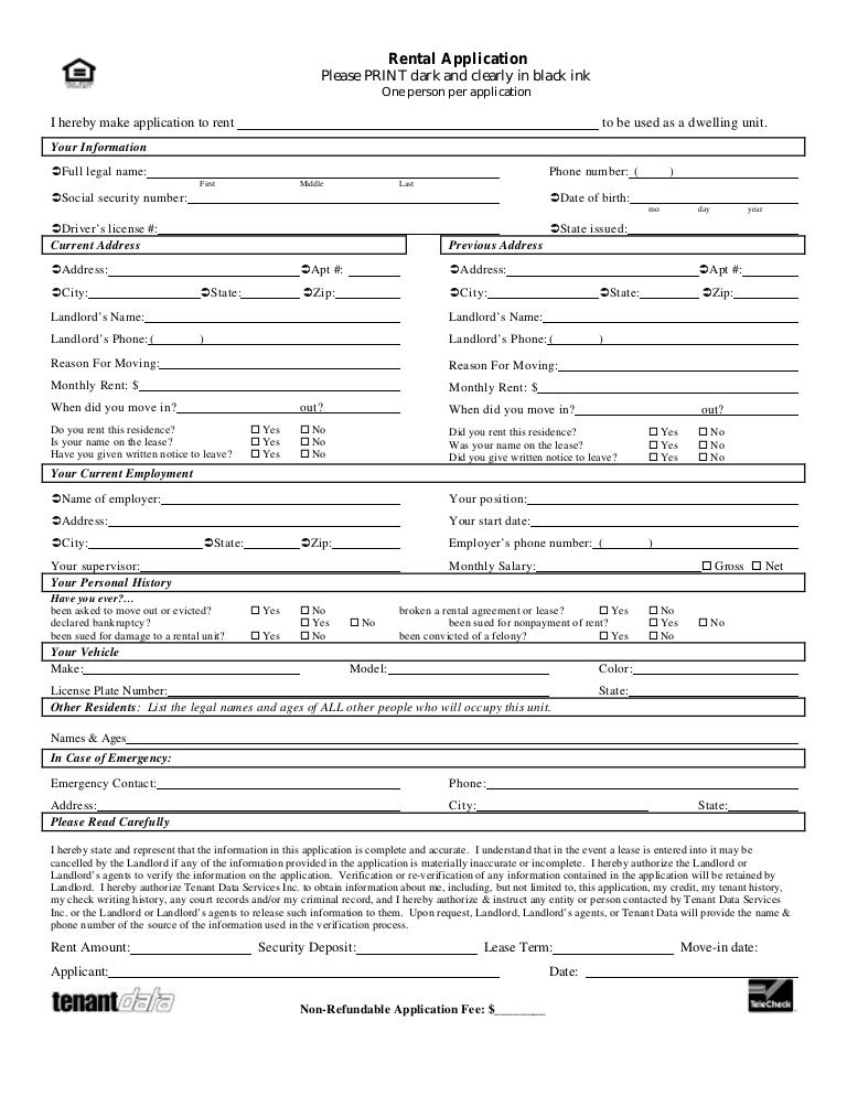 Tenant Application Form California Rental Application Free