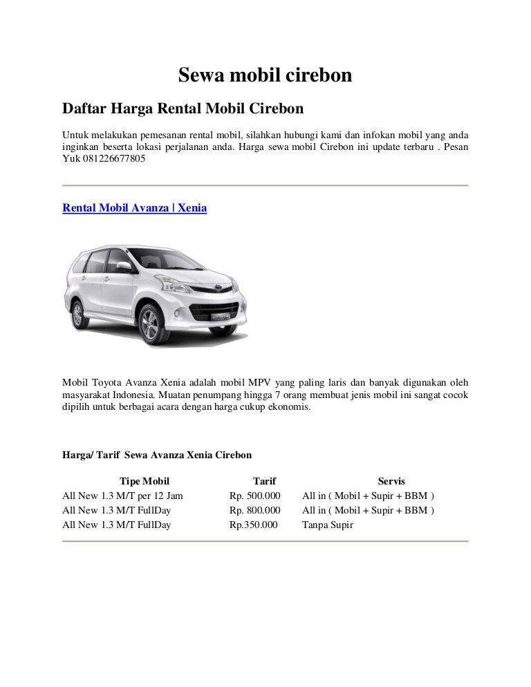 Rental Mobil Cirebon Lepas Kunci