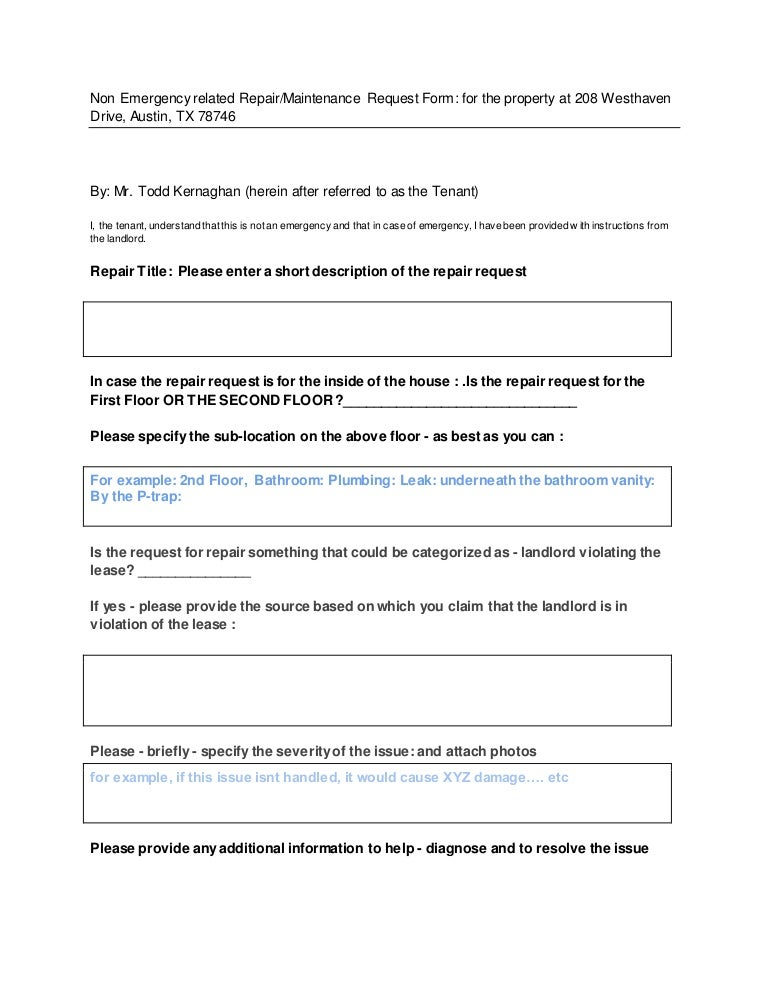 Repair Maintenance-Request-Form-For-Tenant-To-Fill-In-This-Form-Only-…