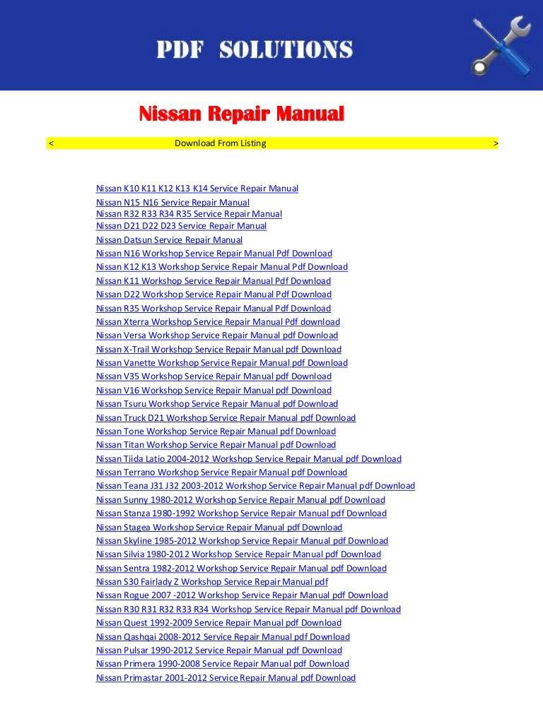 repair manuals nissan pdf download rh slideshare net nissan sunny n16 owners manual nissan sunny n16 service manual free