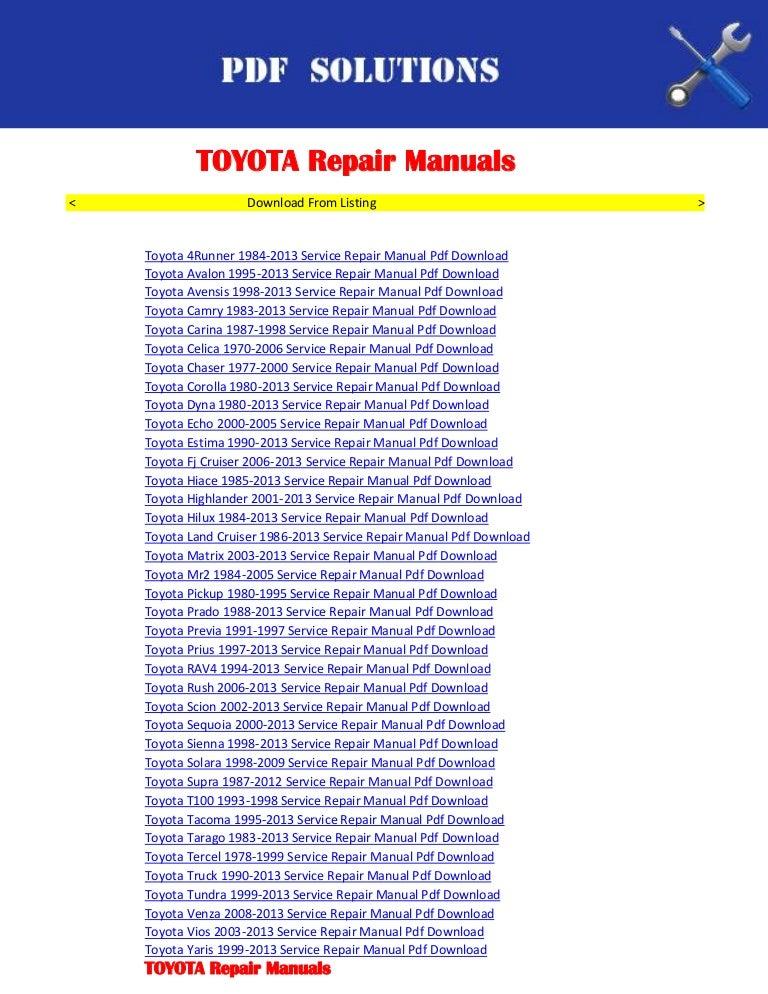 Repair manuals toyota pdf download