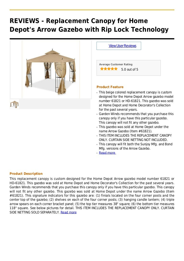 Replacement canopy for home depot's arrow gazebo with rip ...