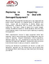Replacing vs repairing  how to deal with damaged equipment