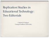 Replication Studies in Educational Technology