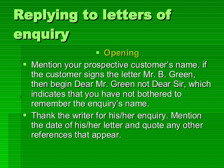 Replying To Letters Of Enquiry