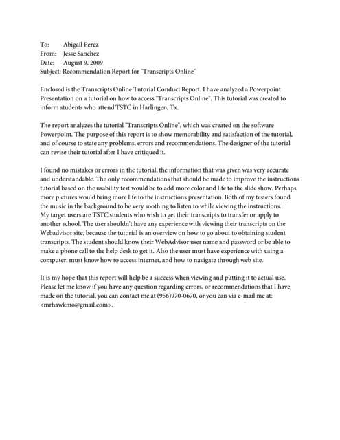 recommendation essay sample