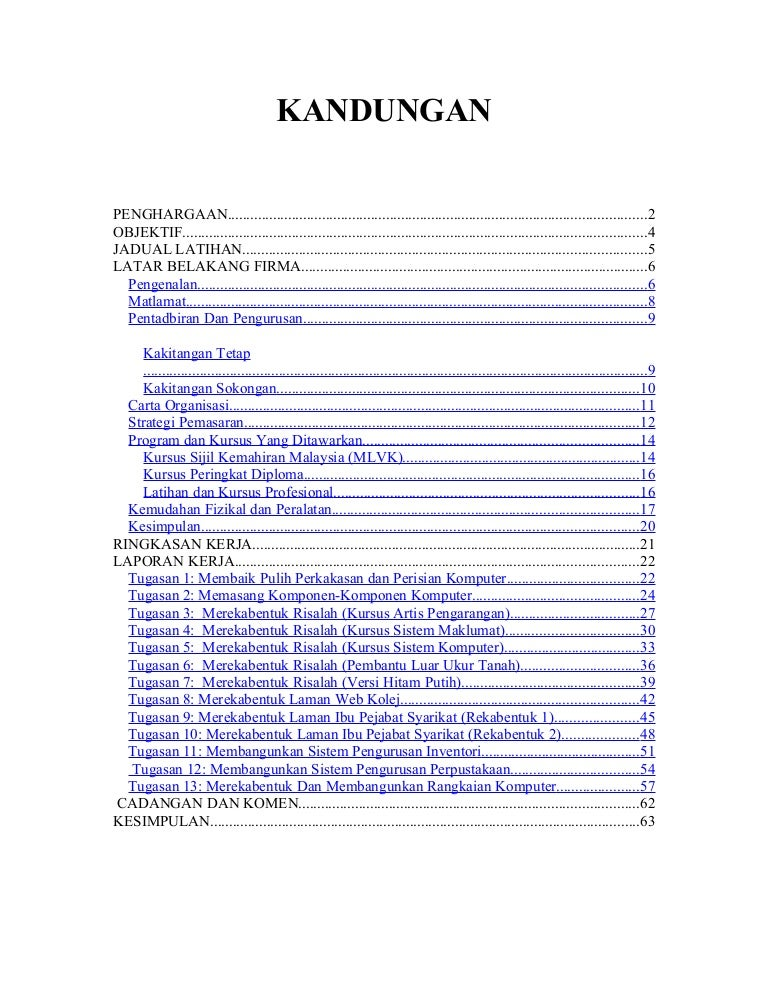 contoh resume latihan industri