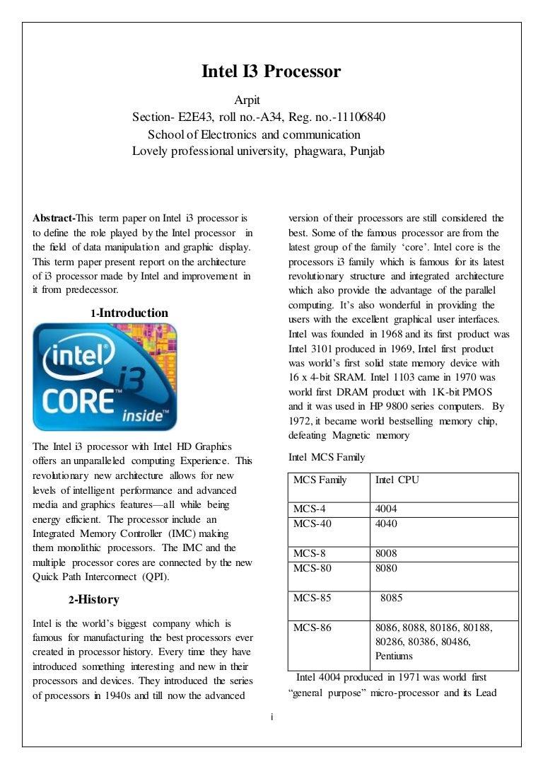 Intel I3 Processor Pentium 3 Block Diagram