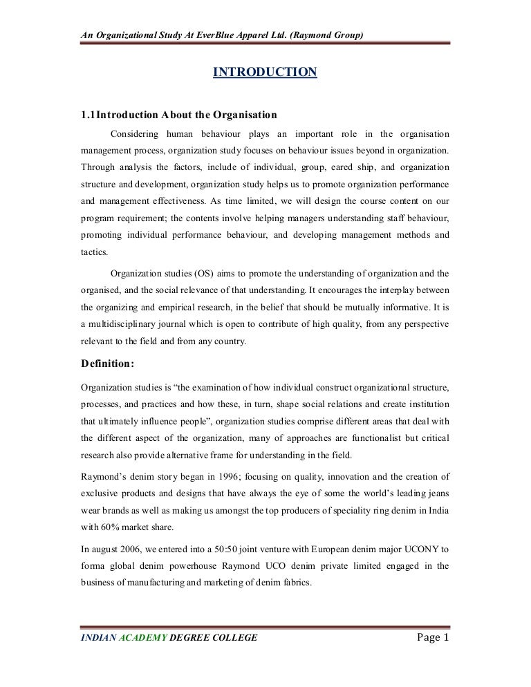 An organisation study At Ever Blue Apparel Ltd 708385d715c