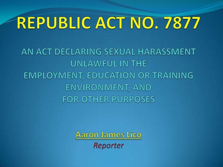 Sexual harassment act slideshare linkedin