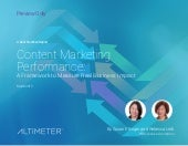 [Report] Content Marketing Performance by Altimeter Group