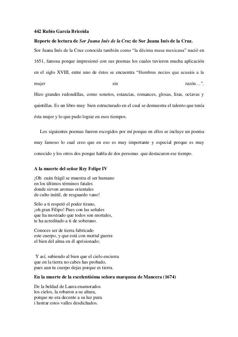 Reporte De Sor Juana Inés De La Cruz